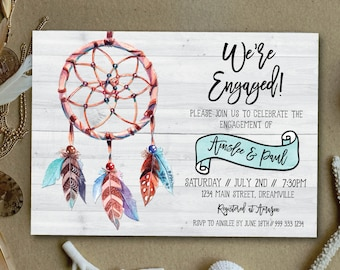 Boho engagement invitation, rustic engagement invitation, dreamcatcher engagement invitation, vintage, rustic, tribal, wood (Ainslee)