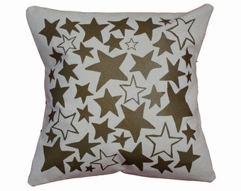 "Metallic Gold and Natural ""Star Bright"" Decorative Throw Pillow / Gold and White Pillow / 16"" x 16"" Throw Pillow / Star Print Pillow"