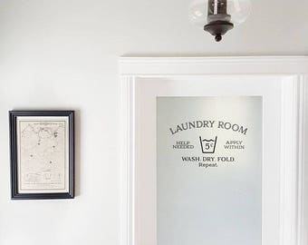 Laundry room help needed apply within wash dry fold repeat Wall Decal Laundry Room decor Sign, Laundry room Door, Wall Decal, Vinyl  HH2126