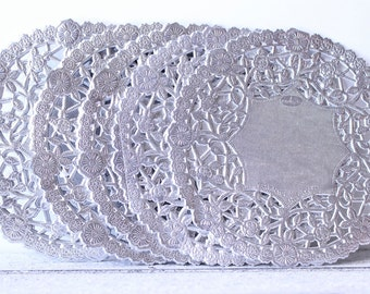Valentine Gift Wrap, Valentine Table Decor, Valentine Packaging, Holiday Gift Wrap, Silver Gift Wrap, Silver Paper Doilies 4 Inch