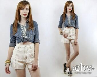 High Waisted Shorts High Waist Shorts Vintage 90s High Waisted Denim Fringe Shorts XS S Jean Shorts