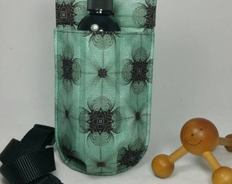 Massage therapy single 8 oz lotion bottle hip holster, Spirograph geometry, black belt
