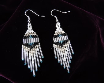 Deep Winter - Native American style medium length dangle earrings