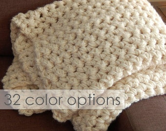 Chunky Throw, crochet blanket, client gifts, Knit Blanket, baby blanket, bulky throw, crochet afghan, great gift, color and size options