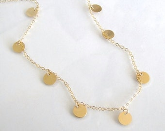 Gold Disc Necklace, Coin Drop Necklace, Featured in Luxy Hair Videos 14k Gold, Sterling Silver, or Gold Filled