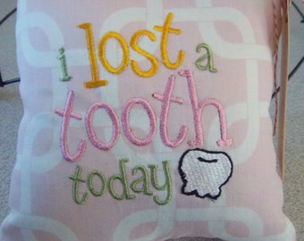 1040  Pink and White Tooth Fairy Pillow
