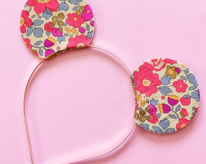 Mickey Ears Headband Liberty of London Neon Floral, Reversible with Gold Glitter, giddyupandgrow