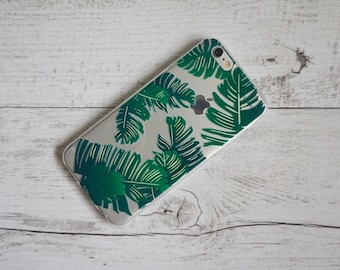 Banana Palms Palm Tree Design Soft Mobile Phone Case Samsung Galaxy S5, S6, S6 Edge, S7, S7 Edge, S8 & S8 Plus