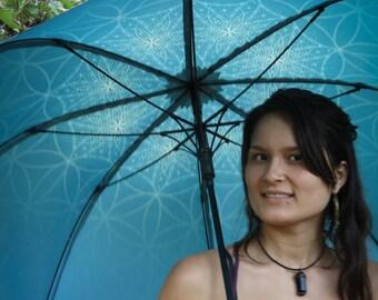 AQUA BLOOM Crystalotus print Umbrella, shade umbrella, wedding umbrella, flower of life, festival umbrella, parasol, beach umbrella