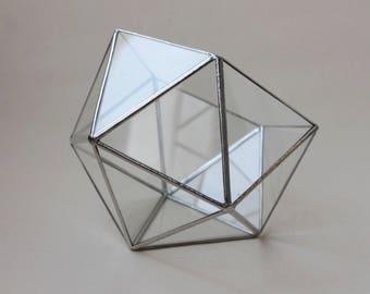 Terrarium Silvery edge. Terrarium Icosahedron. Geometric Glass Terrarium. Handmade Terrarium. Stained Glass Terrarium. Succulent Planter