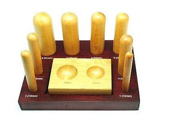 8 Piece Wood Dapping Doming Shaping Swage Block with Stand and Punches. (J1107) Free UK Postage.