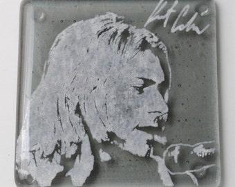 Kurt Cobain Nirvana Musician Fused Glass Coaster, Music, Grunge, Seattle