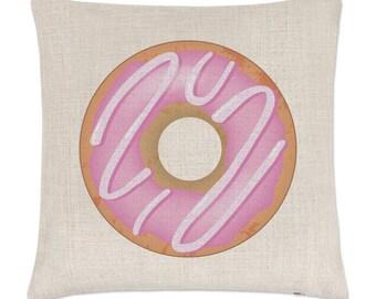 Pink Strawberry Glazed Doughnut Linen Cushion Cover