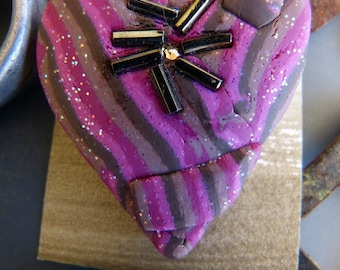 Polymer Clay Heart Pin with Embedded Glass Beads