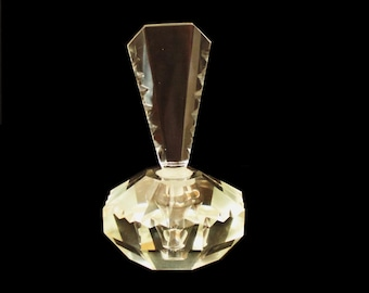 Large Cut Crystal Faceted Perfume Bottle