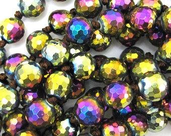 "10mm faceted quartz round beads 14"" strand rainbow 15550"