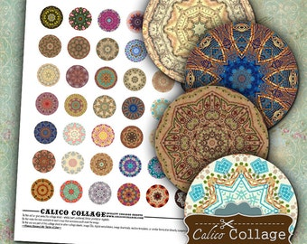 Mandalas, Digital Collage, Printable Circles, 1 Inch Circles, Bottle Cap Images, Images for Pendants, Printable Paper, Boho Collage Sheet