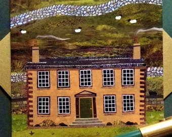 Bronte Sisters Greeting Card·Haworth Parsonage·Collage·Naive Art·Amanda White Design·Art Card·Brontë Country·Writers·Booklovers' Card