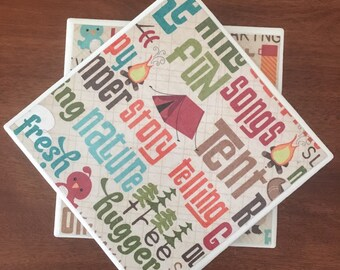 Cabin coasters, outdoor coasters, ceramic tile coasters, tile coasters, coaster set, drink coasters