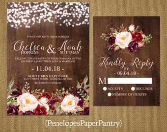 Rustic Fall Wedding Invitation,Burgundy,Marsala,Blush,Fairy Lights,Barn Wood,Rustic,Romantic,Custom,Printed Invitation,Wedding Set,Envelopes