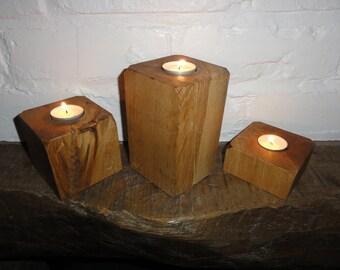 A Handmade Set of Oak Tea Light Holders