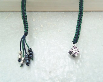 Woven Bookmark with silver plated Gift box charm and Beads, macrame booklover gift