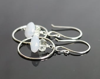 Chalcedony earrings, green amethyst earrings, sterling silver hoop earrings, Chalcedony jewelry gift, amethyst jewelry, Spring earrings