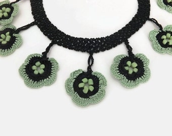 Crochet Necklace Green Flower Necklace Crochet Jewelry Boho Statement Crochet Necklace Mother's Day BFF Birthday Gift For Her Mom Sister Aun