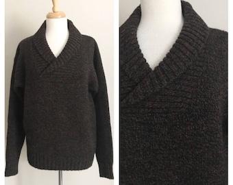 1980s Designer Alan Flusser Shawl Collar Pullover - Shetland Wool