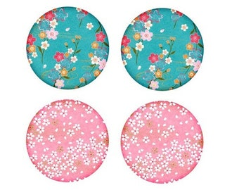 2 pairs of cabochons 20mm, soft flowers