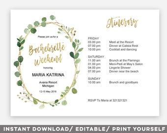 Editable PDF Greenery bachelorette weekend invitation, editable weekend itinerary invitation, Printable Bachelorette Weekend Invitation