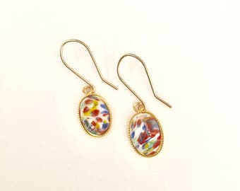 Vintage Millefiori Small Earrings, Colorful Earrings, Gold Earrings, Small Earrings, Statement Earrings
