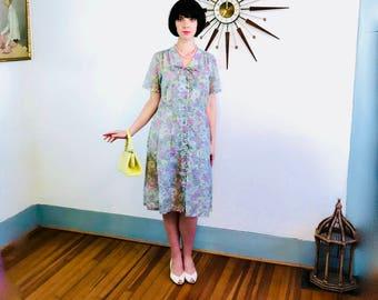 1940s floral dress, authentic vintage, 40s cotton dress, 1940 day dress, Pastel pink dress, Easter Dress, Garden Party, Plus Size 14 16 18