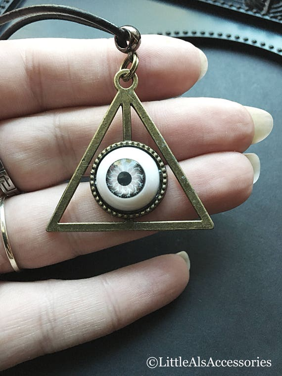 Eye necklace eye pendant deathly hollows necklace triangle like this item aloadofball Choice Image