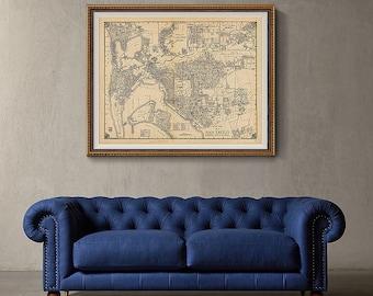 San Diego Map 1938, California Map, San Diego Wall Art, Vintage Map Print- CP149