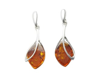 """Sterling Silver and Baltic Honey Amber Earrings """"Nadia"""""""
