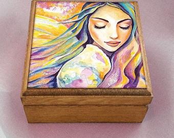 Angel of silence, inspirational art, spiritual painting, divine feminine, wooden gift box, jewelry box, 3.5x3.5+