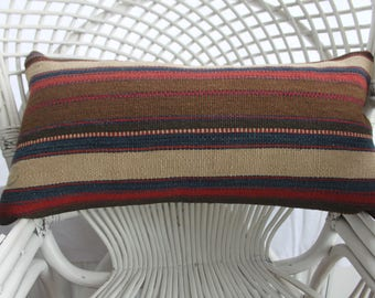 faded pillow navy pillow striped pillows 12x24 vintage turkish pillows case kilim lumbar pillows cushion cover 30x60 cm throw pillows 1479