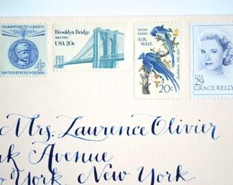 Wedding Stamps Blue and White New York City Vintage Unused Postage Stamp Set