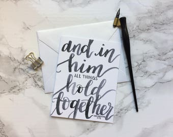 Colossians 1:17 | All things hold together | Love | Engagement | Wedding | Anniversary | Christian Greeting Card