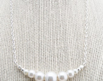 50% OFF Necklace, Silver and ivory pearl graduated necklace 2