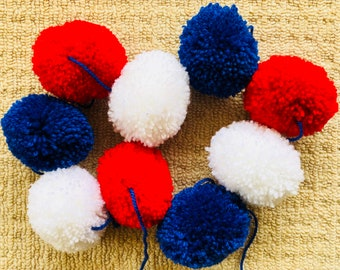 Red, white and blue pom pom bunting