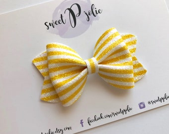 Yellow + White Candy Stripes Fine Glitter Hair Bow // Summer Headband Hair Clip // Large Girls Newborn Baby Toddler Bow
