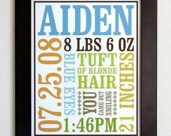 Custom Baby Birth Poster - Digital File