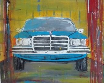 "Acrylic picture ""Mercedes W116 Blue"" 280SE on canvas, original, Pop art by the artist."