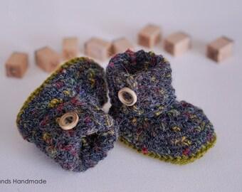 Dark grey woolen baby booties, baby shoes, woolen baby socks, woolen baby shoes, baby shower gift