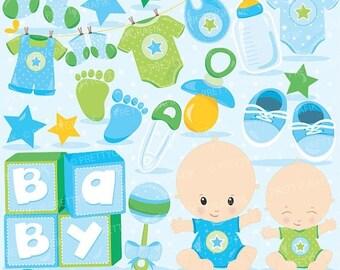 80% OFF SALE Baby boyclipart commercial use, baby shower vector graphics, blue digital clip art, digital images - CL829