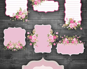 Valentines Shabby Chic Labels Digital Clipart