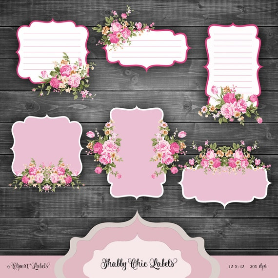 Valentines Shabby Chic Labels Digital Clipart Vintage Floral