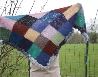 """Patchwork"" hand knit shawl"